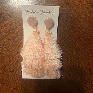 Druzy Fringe Tassel Earrings